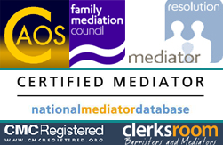 Accreditations: CAOS Conflict Management, Family Mediation Council, Resolution Mediation, National Mediator Database, CMC Registered, Clerksroom Barristers & Mediators