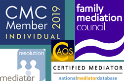 Accreditations: CAOS Conflict Management, Family Mediation Council, Resolution Mediation, National Mediator Database, CMC Registered